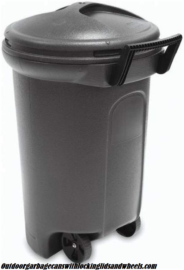 United Solutions TrashMaster 32 Gallon Wheeled Trash Can with Turn & Lock Lid (1, 32 Gallon)