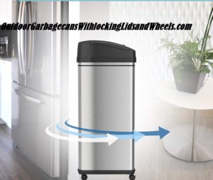 ITouchless Glide 13 Gallon Sensor Trash Can with Wheels and Odor Control System